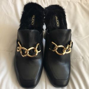 Black Chain Link Faux Fur Mule Bootie